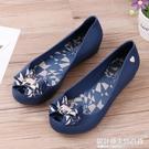 果凍鞋女夏季新款蝴蝶結低幫防滑平底雨鞋沙灘鞋魚嘴防水塑料涼鞋 設計師生活