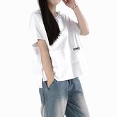 2021夏裝新款寬鬆顯瘦半袖體恤大碼女裝遮肚子上衣連帽短袖t恤 【Ifashion】