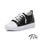 【韓國T2R】正韓空運-真皮帆布鞋小白鞋隱形增高鞋-增高6公分-黑(5985-1910)