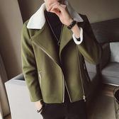 2019秋冬季新款風衣男短款韓版潮流毛呢大衣休閒羊羔毛領呢子外套