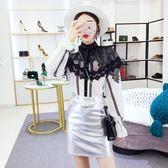 2018秋裝新款韓版蕾絲花邊拼接開衫長袖上衣高腰PU包臀半身裙套裝