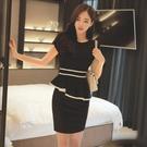 職業洋裝 夏季女裝荷葉邊裙子黑白拼接工作服短袖顯瘦OL職業連身裙-Ballet朵朵
