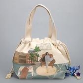 便當袋保溫袋便當包帆布飯盒袋子束口大容量上班手提【古怪舍】