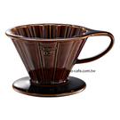 金時代書香咖啡   TIAMO V02花漾陶瓷咖啡濾器組 (咖啡))附濾紙量匙滴水盤  HG5536BR