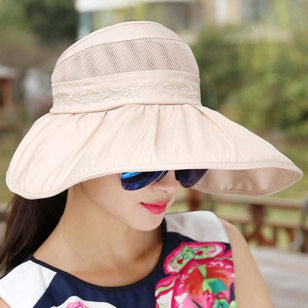 帽子女夏天潮韓版防曬遮陽帽防紫外線出游太陽帽可折疊大沿沙灘帽【時尚家居館】