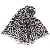 BURBERRY TB印花輕質格紋羊毛真絲披肩圍巾(黑白色)089545-1