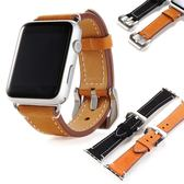 適用蘋果真皮表帶iwatch瘋馬紋手表帶適用apple watch頭層磨砂皮【韓衣舍】