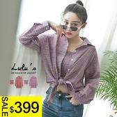 LULUS特價-Y兩件式-抓皺平口上衣+格紋襯衫-2色  現+預【01121049】