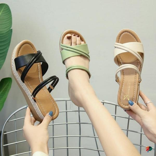 厚底楔形拖鞋女夏外穿2020新款韓版百搭兩穿高跟鬆糕厚底時尚網紅涼拖「草莓妞妞」