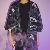 短袖防曬衫男夏印花袖寬鬆薄款七分袖襯衣 BF2080『寶貝兒童裝』