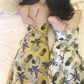 露背洋裝 夏裝新款女溫柔氣質菠蘿顯瘦印花長裙百搭交叉露背吊帶洋裝·夏茉生活