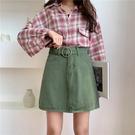 半身裙 2020新款韓版學生百搭高腰牛仔半身裙女夏大碼A字短裙子 3色