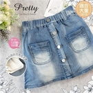 (大童款-女)雙口袋金屬排釦牛仔短裙(內有安全褲)(310067)【水娃娃時尚童裝】