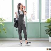 《BA3926》高含棉修身口袋造型皮革吊帶縮口褲 OrangeBear