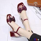 一字涼鞋 涼鞋 百搭粗跟 一字帶 時尚 中跟 高跟鞋