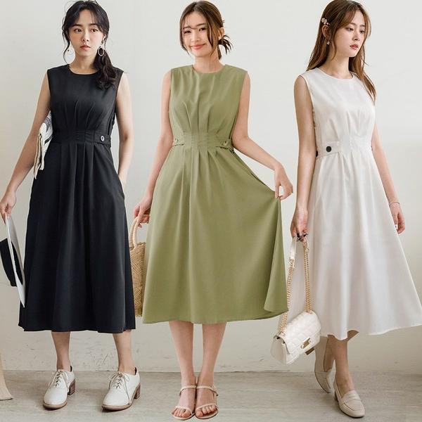 MIUSTAR 顯瘦壓褶側釦滑面雪紡洋裝(共3色)【NJ0358】預購