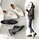 牛津鞋 小皮鞋女2020新款秋冬季英倫風百搭系帶尖頭粗跟中跟上班軟皮單鞋 618購物節