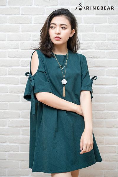 氣質洋裝--森林系精靈風挖肩蝴蝶結綁繩袖棉麻混紡連身裙(黑.綠XL-5L)-D450眼圈熊中大尺碼