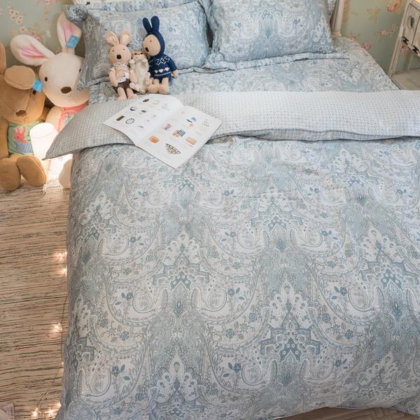 天絲床組 藍色土耳其  QPM4雙人加大鋪棉床包鋪棉兩用被四件組(40支) 100%天絲 棉床本舖