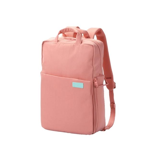 ELECOM 帆布多功能3WAY薄型後背包OF04-限定馬卡龍色(粉紅色)