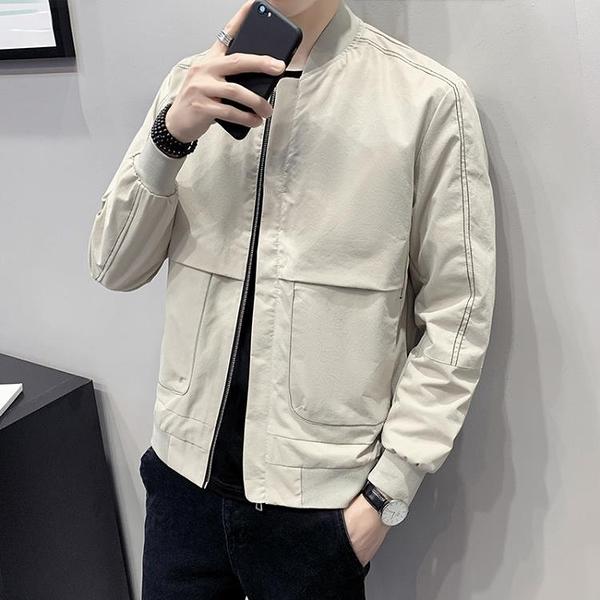 2020新款春秋季夾克潮流休閒百搭帥氣薄款男士工裝外套棒球領衣服 安雅家居館
