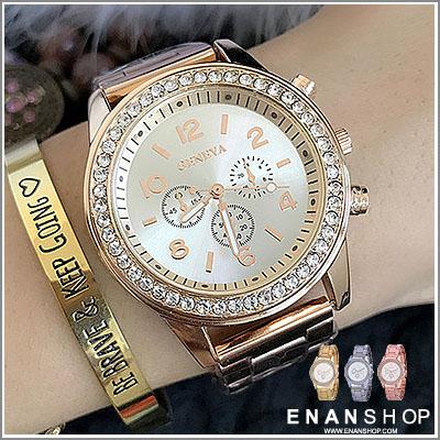 惡南宅急店【0534F】韓版手錶 Geneva滿鑽日內瓦三眼錶 女錶男錶情侶錶情侶對錶 金屬錶(3色)