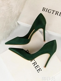 高跟鞋 歐美風綢緞細跟高跟鞋女宴會婚鞋淺口尖頭側鏤空性感夜店顯瘦單鞋 韓菲兒