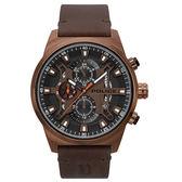 POLICE 時空戰區三眼腕錶-深褐色x棕色