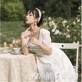 法式復古方領白色洋裝仙女超仙氣質甜美智熏裙高腰桔梗裙夏顯瘦 青木鋪子