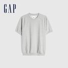 Gap男裝 碳素軟磨系列法式圈織 舒適短袖休閒上衣 888930-淺灰色