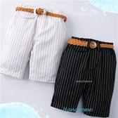 虛線直條紋假口袋平織短褲(可拆式皮帶)(250237)★水娃娃時尚童裝★