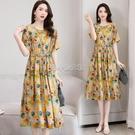 棉麻連衣裙女夏修身收腰顯瘦氣質遮肚洋氣減齡夏天裙子 快速出貨