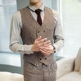 雙排扣韓版休閒修身西裝馬甲 英倫風復古夾克背心