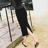 半身裙 黑色半身裙女短裙夏季中長款高腰長裙開叉一步包臀裙子-Ballet朵朵