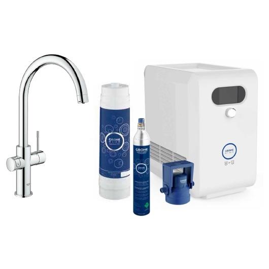 【24期零利率】GROHE Blue 3 in 1 氣泡淨水機 (一個水龍頭可冰水、氣泡水、微氣泡.自來水)德國原裝