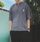 FINDSENSE品牌 時尚潮流 男 條紋 立領 寬鬆 休閑外搭襯衫 七分袖襯衫