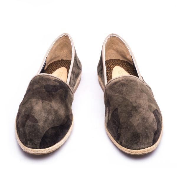 日本麂皮率性懶人草編鞋#11138全迷彩 -ARGIS日本製手工皮鞋