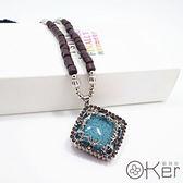 新款百搭長款爆裂方塊大寶石長項鍊 O-Ker KAX494