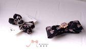 蜜諾菈Minerva‧專屬設計小花壓布條蝴蝶結髮夾髮飾款‧編號00433