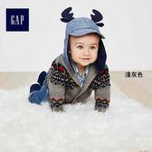 Gap男嬰兒 時尚民族風長袖開衫 400206-淺灰色