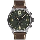 TISSOT天梭 韻馳系列 Chrono XL計時手錶-綠x咖啡/45mm T1166173609700