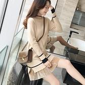 長袖洋裝 秋冬裝正韓假兩件套針織毛衣連身裙女長袖中長款打底裙加絨-Ballet朵朵