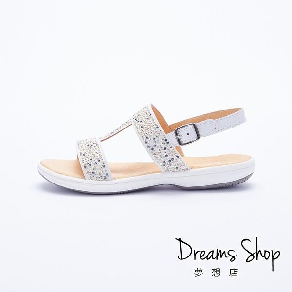 大尺碼女鞋 夢想店 MIT台灣製造I型腳背修飾超輕量真皮涼鞋2.5cm(41-46)【JD218】白色