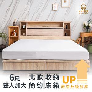 【本木】蒼空 簡約黑玻收納房間三件組-雙人加大6尺 床墊+床頭+六分加梧桐