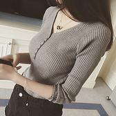 DE shop - V領排釦羅紋針織衫 - GU3888
