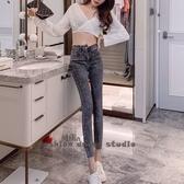 依酷衫 韓國高腰不規則牛仔褲 彈力緊身顯瘦九分鉛筆褲