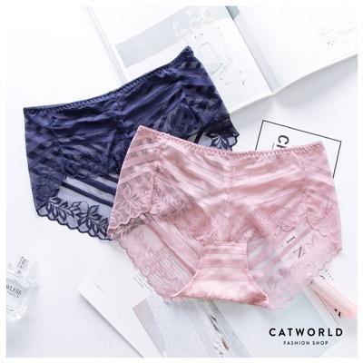 Catworld 巴黎女伶。浪漫透膚蕾絲平口褲【18800814 】‧L/XL