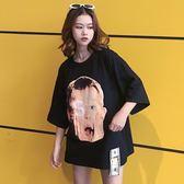 短袖T恤中長款七分袖t恤女韓版潮學生寬鬆字母原宿風bf百搭短袖上衣 曼莎時尚