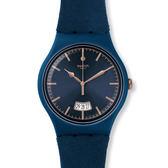 Swatch  深藍魅力麂皮風格石英腕錶   SUON400