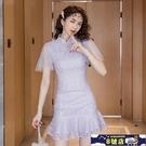 小香風改良旗袍 2020年夏季新款復古修身顯瘦紫色蕾絲洋裝網紗魚尾連身裙女 8號店